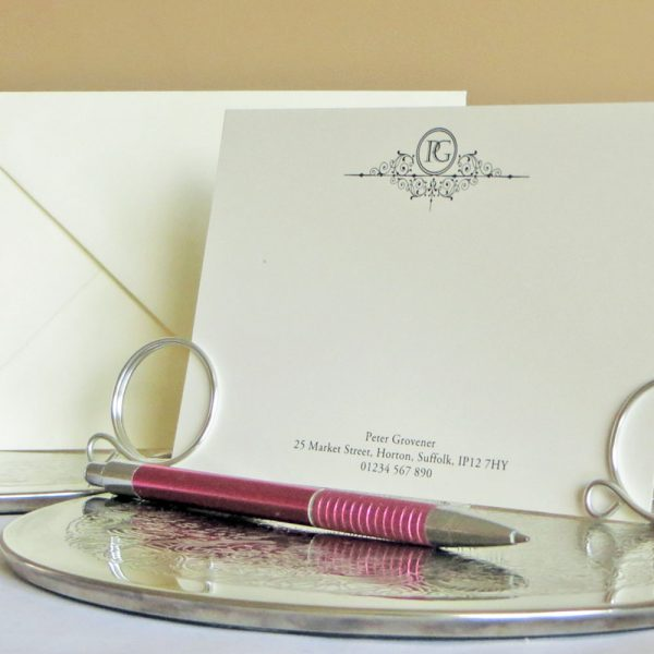Personalised Correpsondence Cards Design C03 Ivory