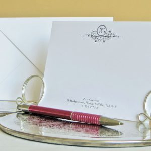 personalised monogram correspondence cards