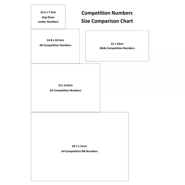 Competitor Numbers Size Comparison Chart