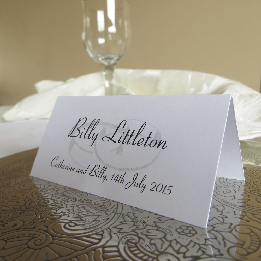 Personalised wedding ring place cards for Place card for wedding