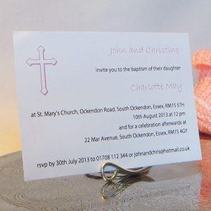 Personalised Baptism Christening Invitations BAP01 Pink Cross