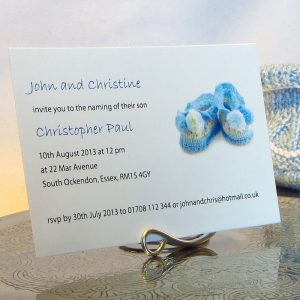 Personalised Baptism Christening Invitations BAP02 Blue Booties