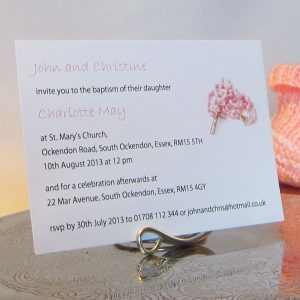 Personalised Baptism Christening Invitations BAP03 Pink Rosary Beads