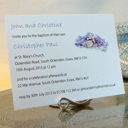 Personalised Baptism Christening Invitations BAP03 Blue Rosary Beads
