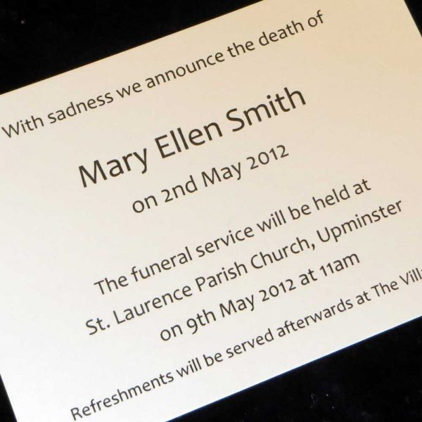 Funeral Announcement Cards Design FAC06