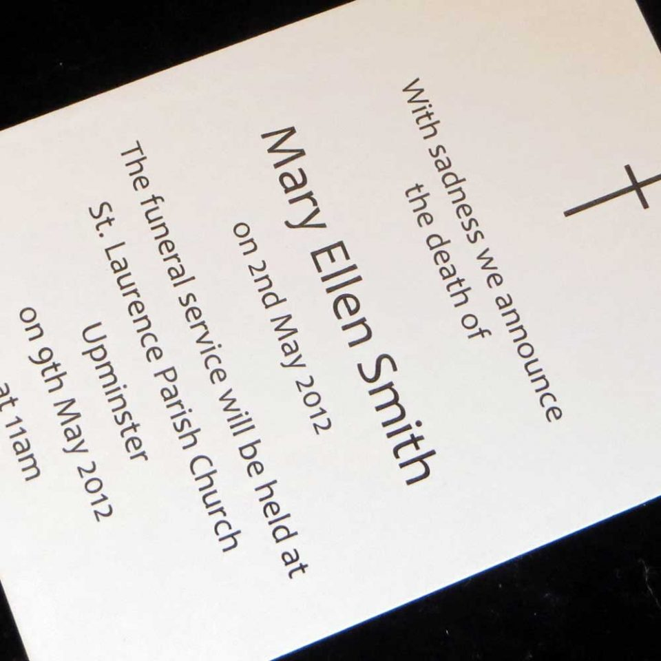 10 Funeral Announcement Cards Design FAC01 IJC Your Print on Demand – Death Announcement Cards Free