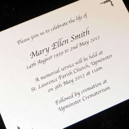Funeral Announcement Cards Design FAC07
