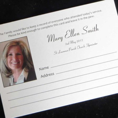 Funeral Attendance Cards FAT01