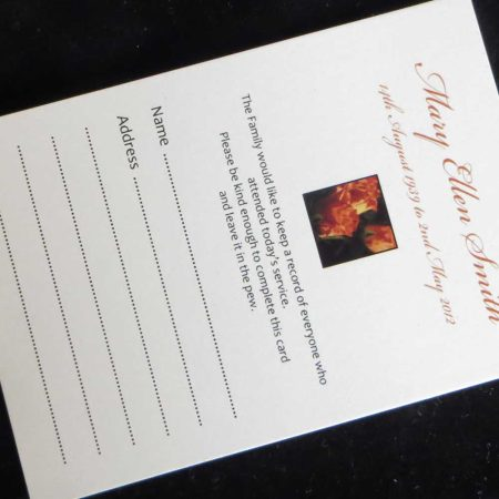 Funeral Attendance Cards FAT03