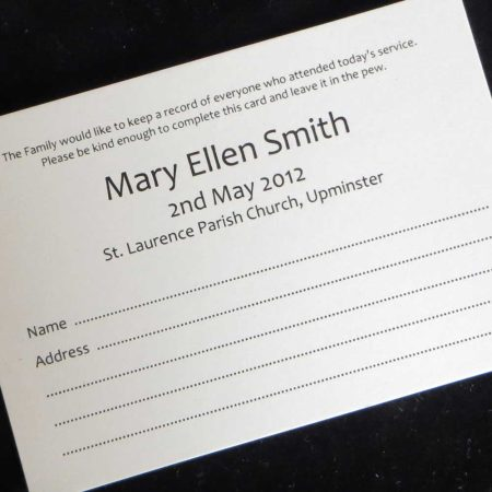 Funeral Attendance Cards FAT06
