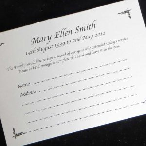 Funeral Attendance Cards FAT08