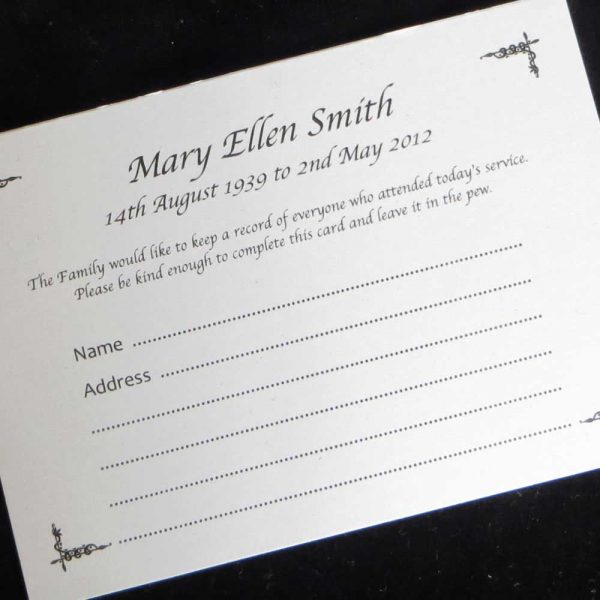 Funeral Attendance Cards FAT08