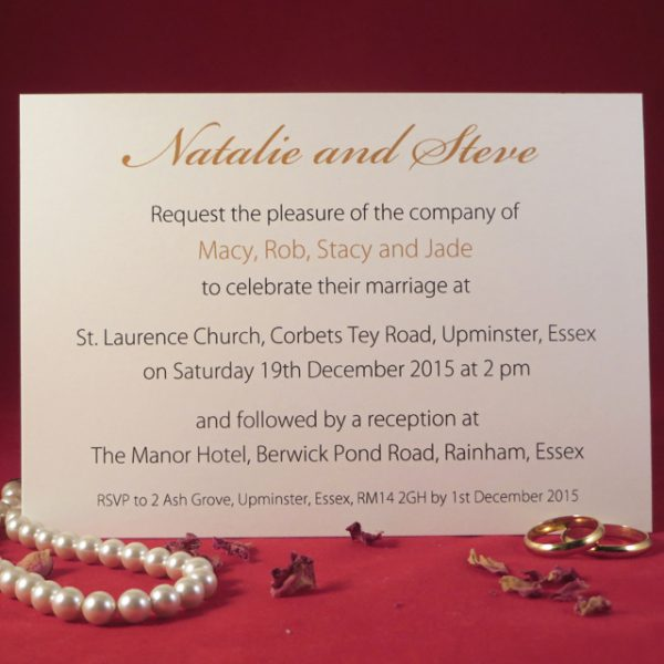 Personalised Flourish Evening Invitations Back