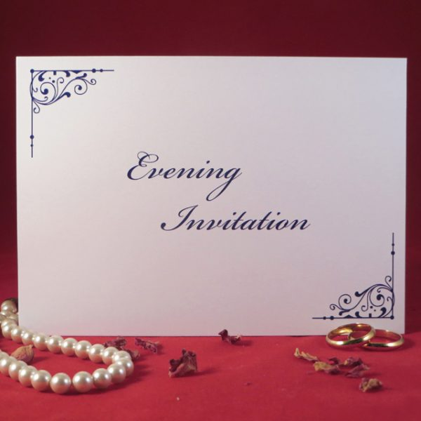 Personalised Flourish Evening Invitations Front
