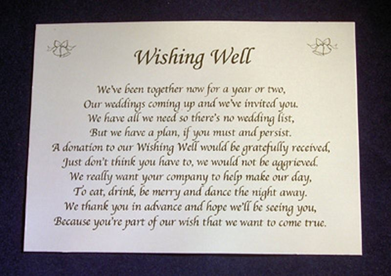 Wedding Invitation Wording For Monetary Gifts: Personalised Wishing Well Money Request Poem Gift Cards