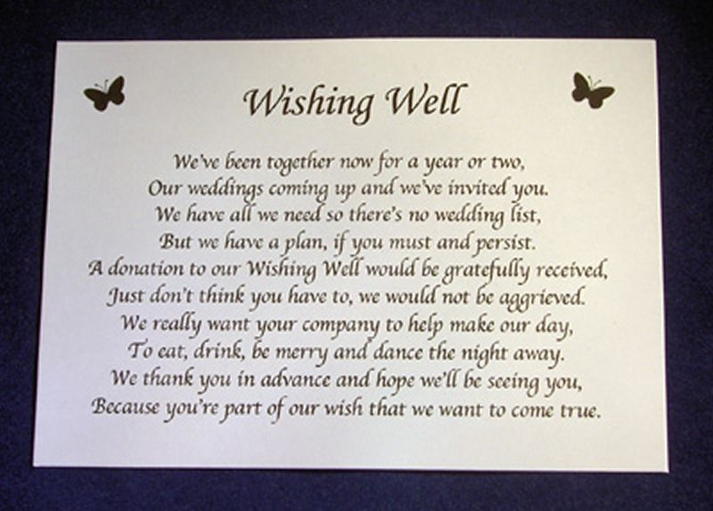 Wedding Invitation Gifts: Personalised Wishing Well Money Request Poem Gift Cards