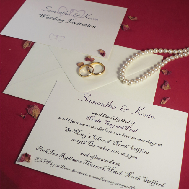 Personalised Wedding Invitations Wedding Day Evening Reception Invites Card