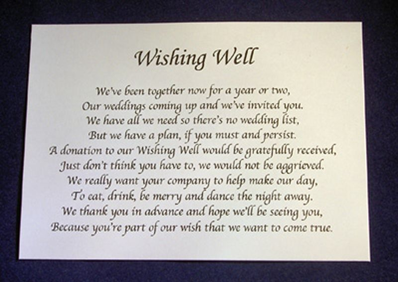 Poems For Wedding Gifts : ... -Wishing-Well-Money-Request-Poem-Gift-Cards-for-Wedding-Invitations