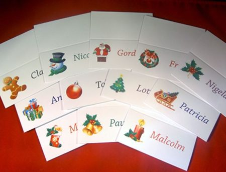 Personalised Festive Place Cards Mixed