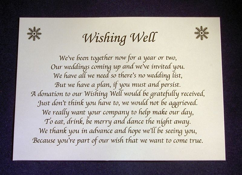Wedding Invitation Wording Ideas With Poems: Personalised Wishing Well Money Request Poem Gift Cards