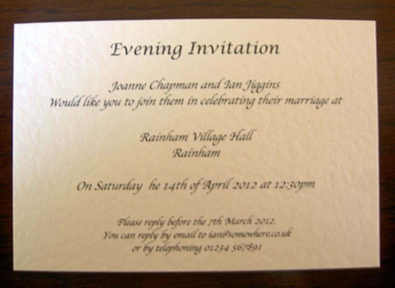 Invitation Wording For Wedding Reception: Personalised Wedding Day Evening Reception Invitations