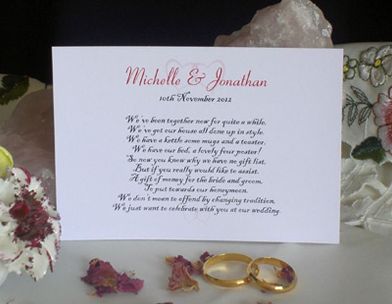 Personalised Wishing Well Money Request Poem Gift Cards For Wedding Invitations