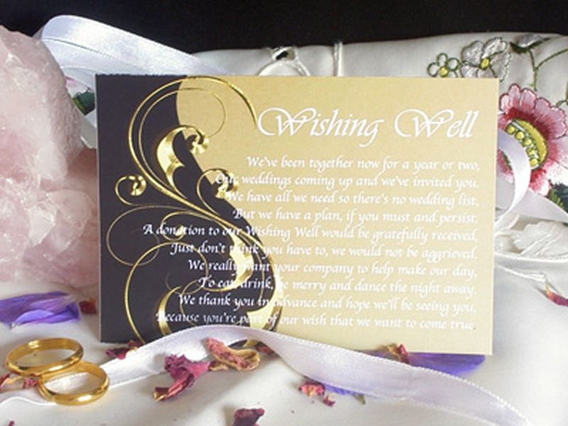 Wedding Invitation No Gifts Just Money: Personalised Wishing Well Money Request Poem Gift Cards