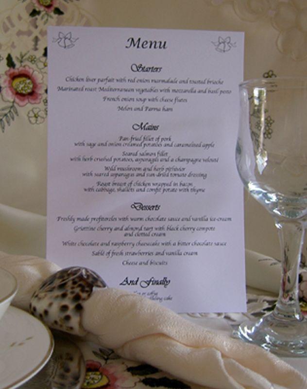 Table Menus Wedding Day Evening Reception Cards Bells Menu Card