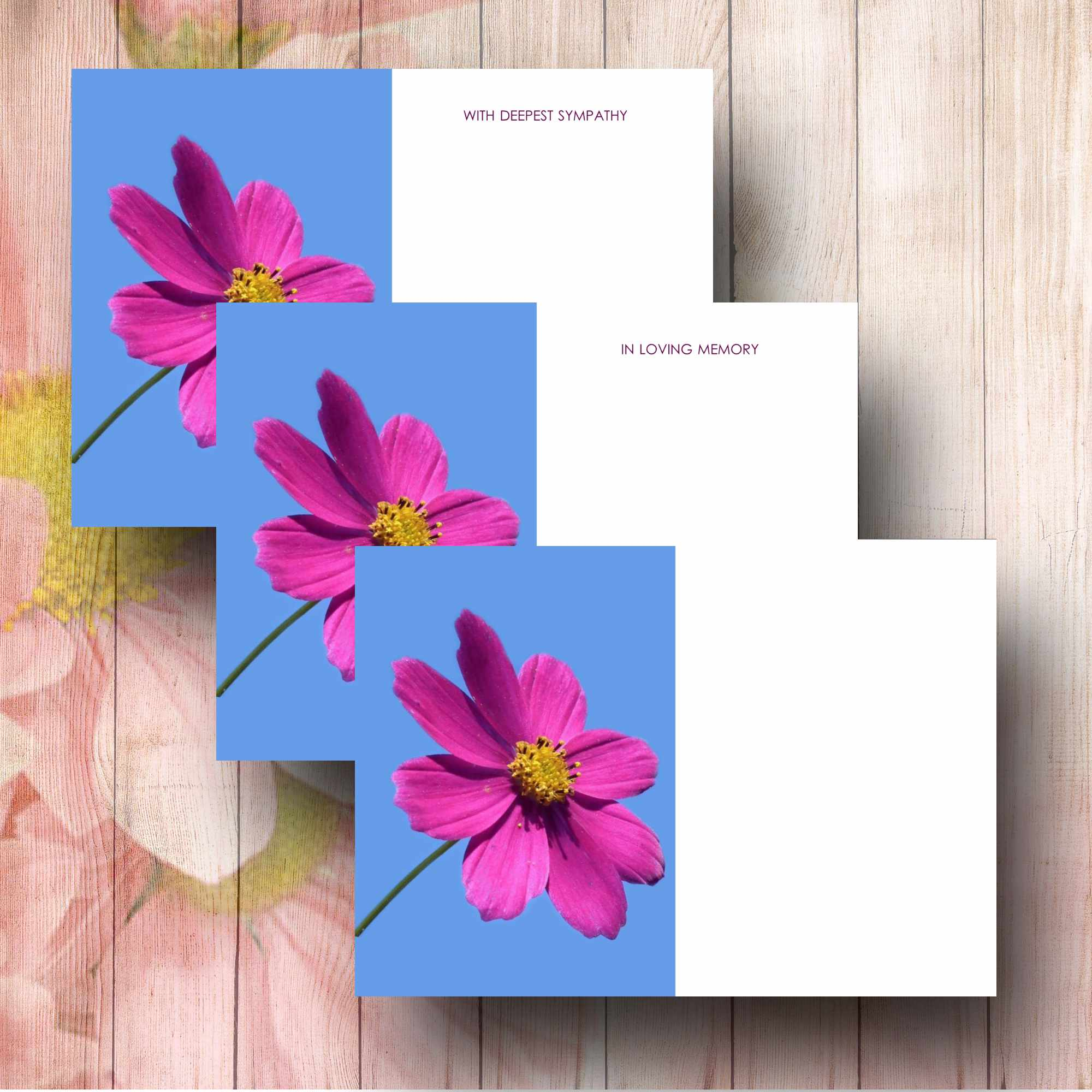 Magenta cosmos flower funeral floral message cards magenta cosmos flower florist card izmirmasajfo