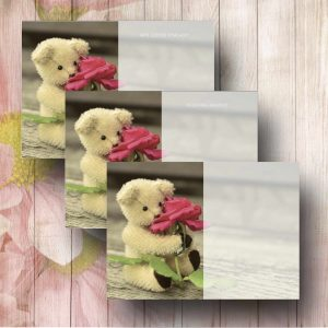 Teddy With Rose Funeral Florist Message Card