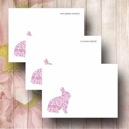 Pink Heart Rabbit Floral Message Card