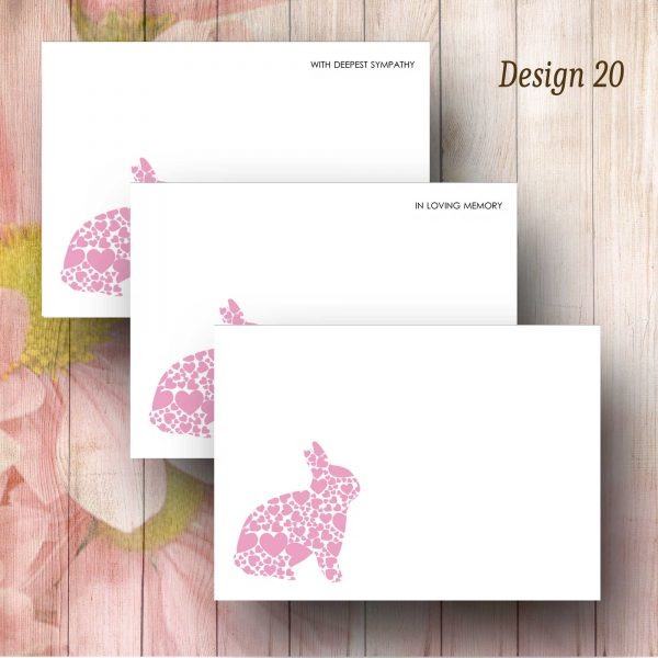 Pink Heart Rabbit Floral Message Card