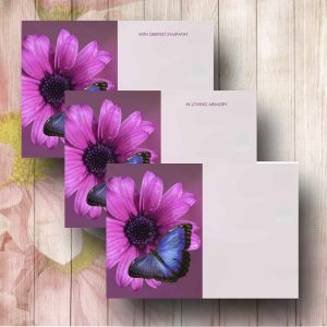 Blue Butterfly Funeral Florist Message Card