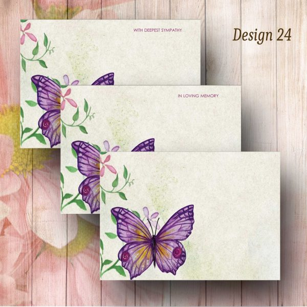 Butterfly Water Colour Funeral Florist Message Card