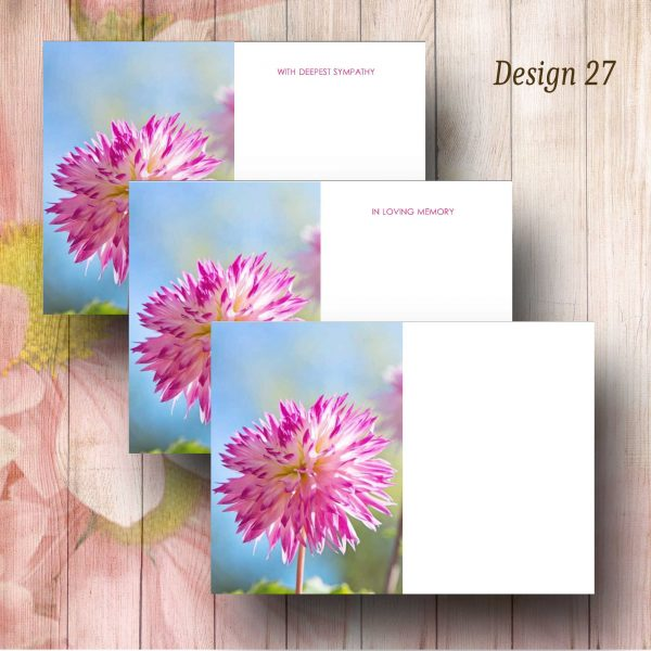 Pink Tipped Flower Funeral Flower Message Cards