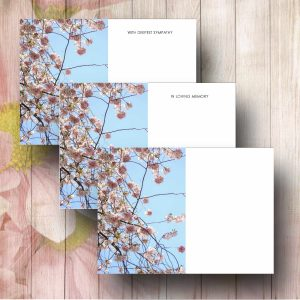 Pink Blossom Tree Funeral Flower Message Card