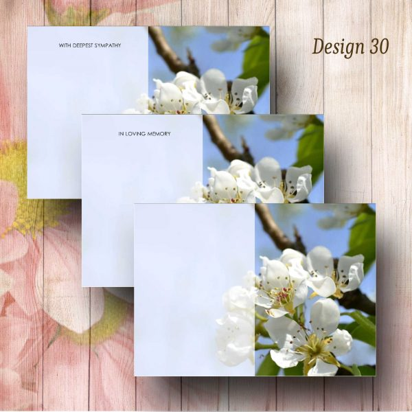 White Blossom Funeral Flower Message Cards