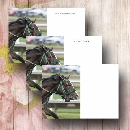 Race Horses Funerl Flower Message Card