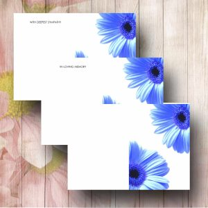 Double Blue Daisy Design Florist Card