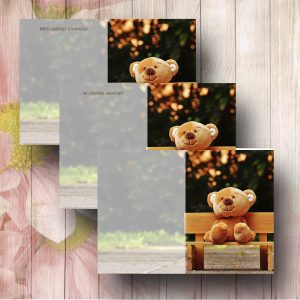 Bench Teddy Florist Funeral Card