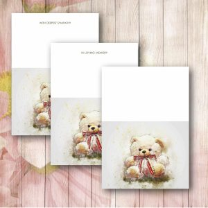 Red Ribbon Teddy Florist Funeral Card