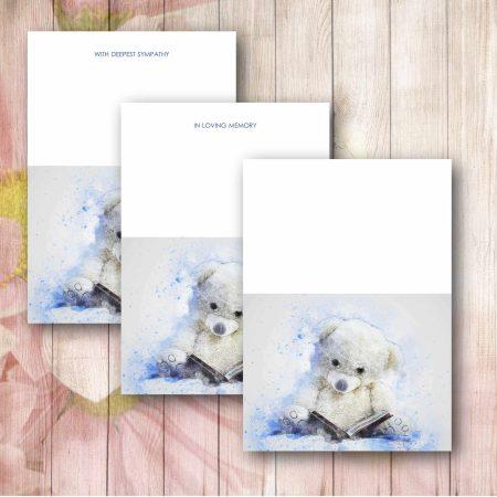 Blue Impression Teddy Florist Funeral Card
