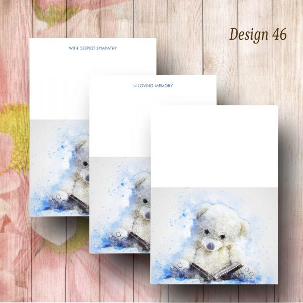Blue Impression Teddy Florist Funeral Card