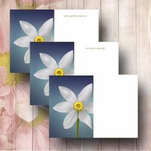 Narcissus Flowers on Blue Background Florsit Card