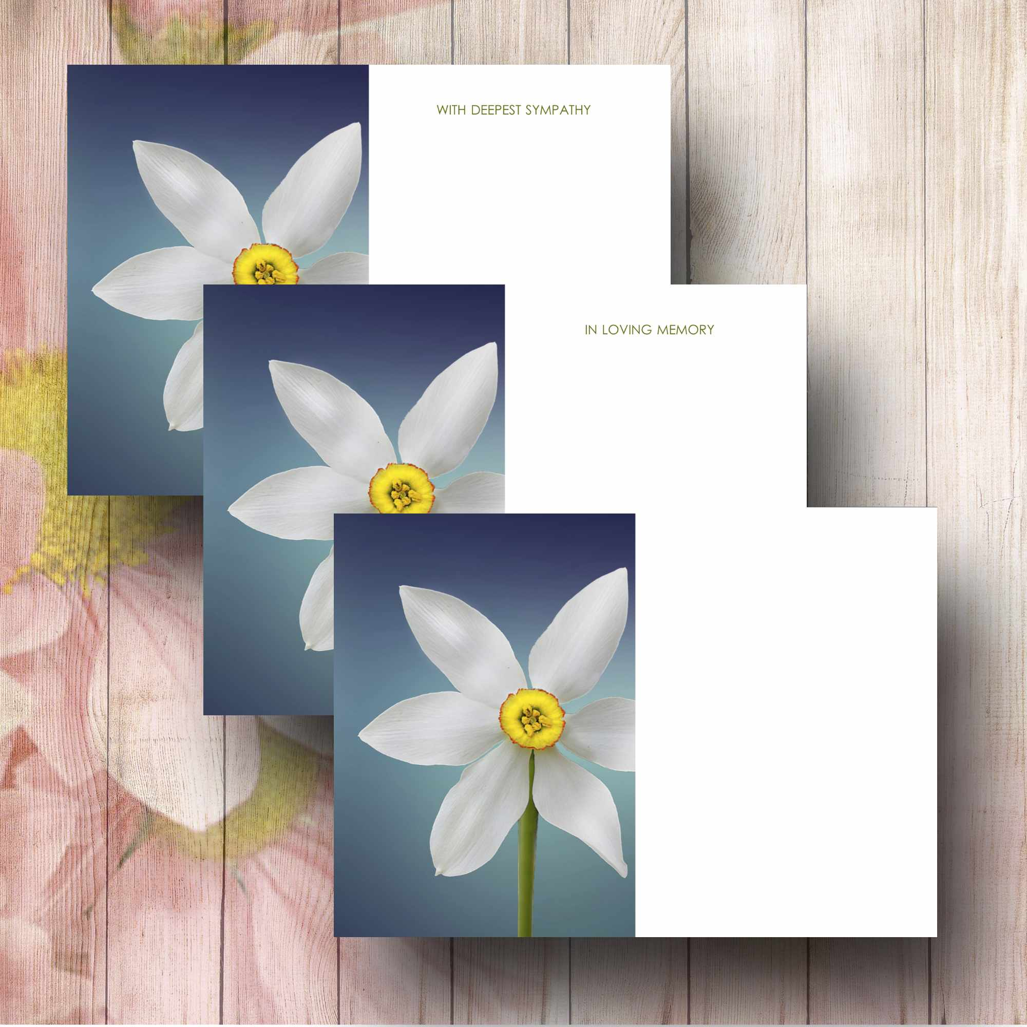 Delicate narcissus flowers on blue background funeral floral message narcissus flowers on blue background florsit card izmirmasajfo