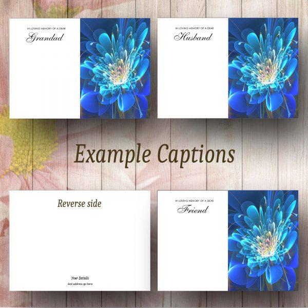 Stylised Blue Flower Caption Exampless
