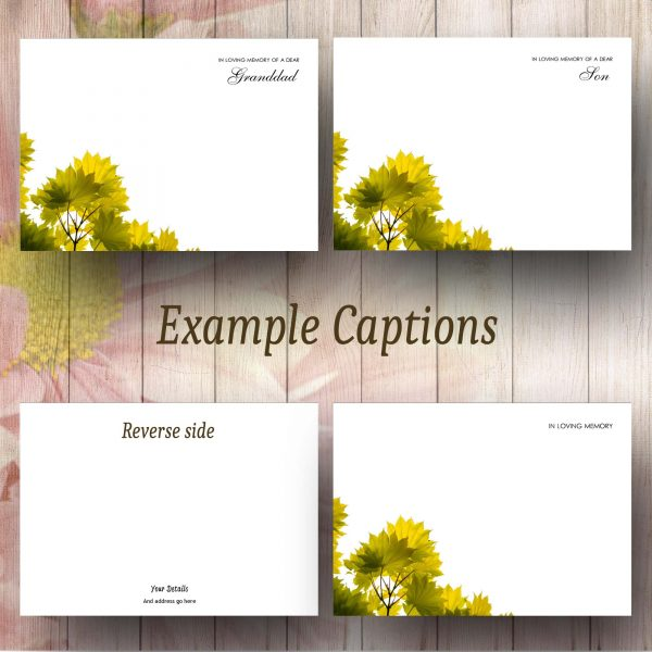 Green Leaves Caption Example Florist Card