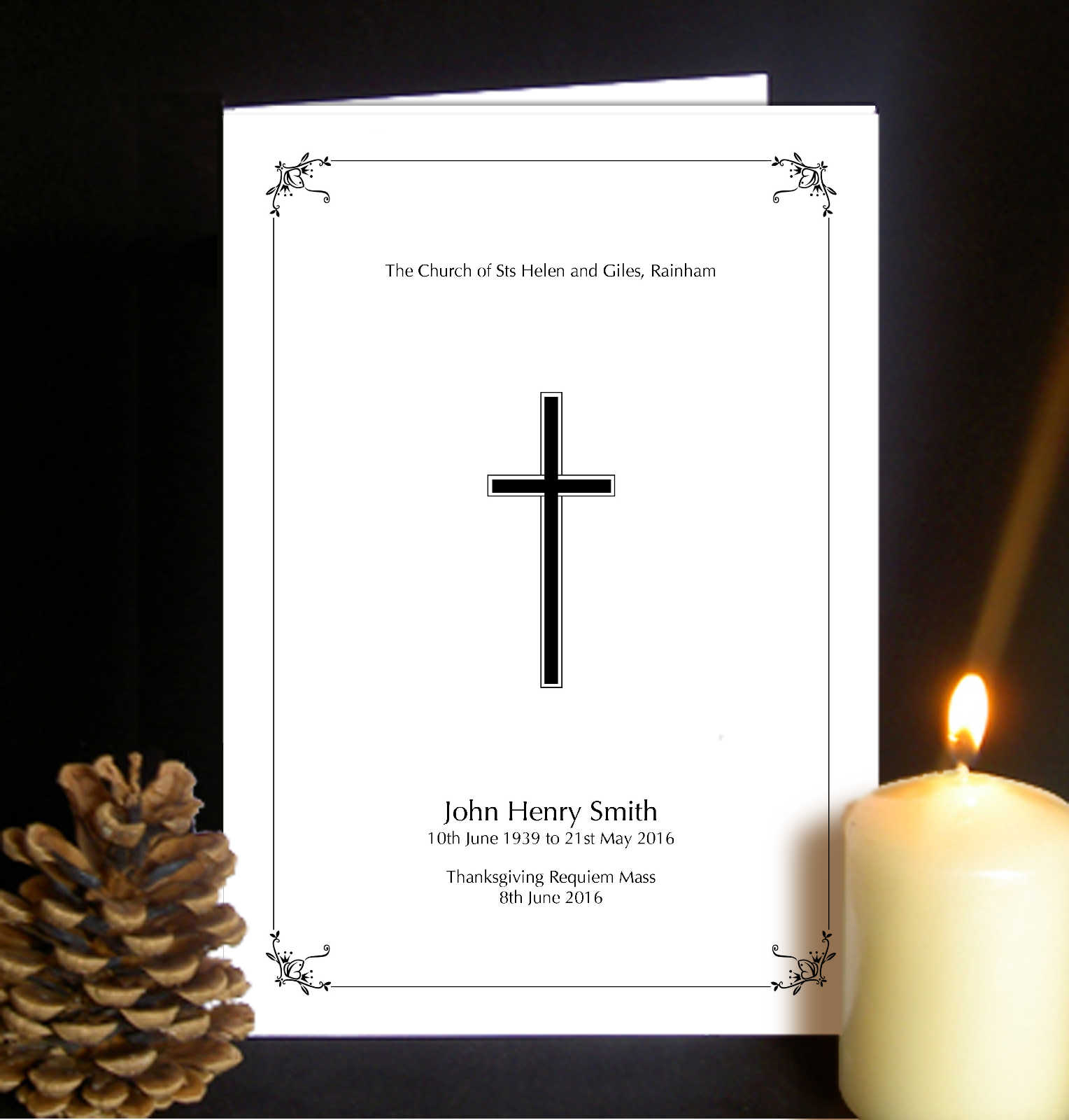funeral order of service cross and border design fos08