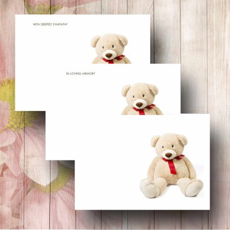 White Teddy Funeral Florist Message Card