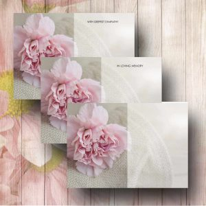Pink Carnation Funerla Florist Message Card